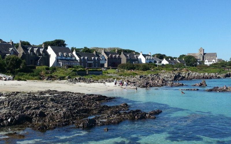 Beach and village on Iona
